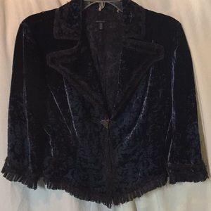Elie Tahari Women's Blue Velvet Dress Jacket Sz L